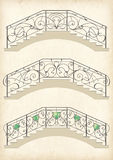 Vector wrought iron bridge Stock Photos
