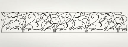 Vector wrought iron modular railing. With leaves vector illustration