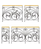 Vector wrought iron modular railings and fences. Wrought iron modular railings and fences isolated on white background vector illustration