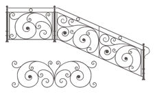 Vector wrought iron modular railings and fences. Wrought iron modular railings and fences isolated on white background royalty free illustration