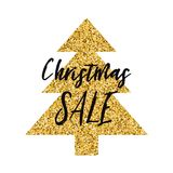 Vector Xmas banner Christmas Sale with sparkle gold Christmas tree on white Stock Image