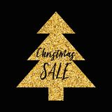 Vector Xmas banner Christmas Sale with sparkle gold Christmas tree on black Stock Image