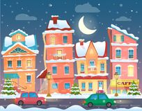 Vector Xmas card with a decorated snowy old city town at Christmas eve in night. Vector Xmas card with a decorated snowy old city town at Christmas eve in night Royalty Free Stock Image