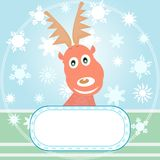 Vector Xmas card with Rudolph the Reindeer Royalty Free Stock Photography