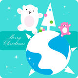 Vector xmas dancing Polar Bear. Family, kids greetings card, background royalty free illustration