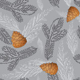 Vector Xmas seamless pattern with  golden pine cone and branch. Stock Photos