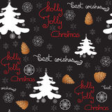 Vector xmas seamless pattern. Include pine cone, tree with toys. Royalty Free Stock Photo