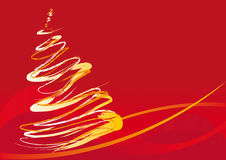 Vector xmas tree. Abstract vector illustration of a christmas tree over red with space for copy Royalty Free Stock Photos