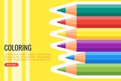 Vector y fondo del lápiz que colorean ilustración del vector