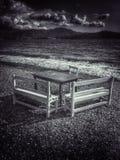 Vector y sillas en la playa Fotografía de archivo