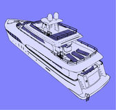 Vector yacht back view Royalty Free Stock Photo