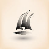 Vector yacht club logo. Halftone stylized Royalty Free Stock Photo