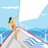 Vector yacht girl Royalty Free Stock Images