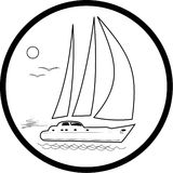 Vector yacht icon. Black and white. Simply change Stock Photo