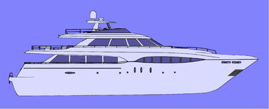 Vector yacht side view Stock Photography