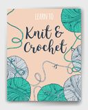 Vector yarn balls book cover. Mock up for knit and crochet classes poster or advertisement. Hand drawn illustration for brochure, poster or cover design. Made Stock Photo