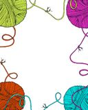 Vector yarn balls decorative frame. With long thread and knot, blank empty in the middle for your text. Hand drawn illustration for knitting and crochet classes Royalty Free Stock Image