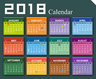 Vector year of 2018 calendar Royalty Free Stock Photo