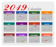 Vector year of 2019 calendar background royalty free illustration