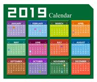 Vector year of 2019 calendar background vector illustration