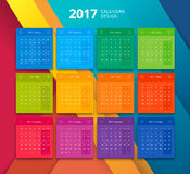 Vector 2017 year calendar design template. 2017 year calendar template in material design style. Can use for print, graphic design, gui and web. Modern style Royalty Free Stock Images