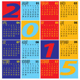 Vector of Year 2015 Colorful Calendar Royalty Free Stock Photos