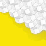 Vector yellow background with volume cubes Stock Photos