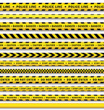 Vector yellow black police tape set isolated. Vector yellow black police tape set. Flat cartoon isolated illustration on a white background. Yellow danger tape Royalty Free Stock Images