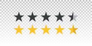Vector yellow and black star rating bar isolated on transparent background. Element for design your website or app.  royalty free illustration