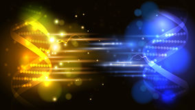 Vector yellow and blue light DNA fight background. Science background, can be used for business, medical, science presentation Stock Images