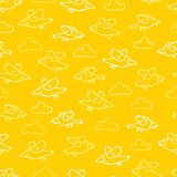 Vector yellow cartoon birds repeat pattern. Suitable for gift wrap, textile and wallpaper royalty free illustration