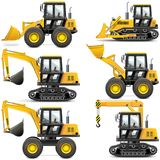 Vector Yellow Construction Machinery Royalty Free Stock Photography