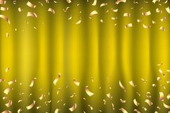 Vector yellow Curtain gold Confetti Greeting Card, background with Free Space. Luxury, Glamour Design with Shine Sparkles art. Vector yellow Curtain gold Royalty Free Stock Photography