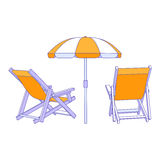 Vector yellow deck chairs under beach umbrella Royalty Free Stock Photo