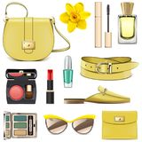 Vector Yellow Fashion Accessories Royalty Free Stock Images