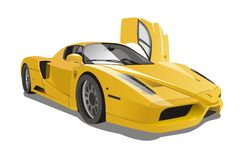 Vector Yellow Ferrari Enzo Racing Cars Royalty Free Stock Photo