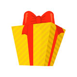 Vector of yellow gift isolated on white. Cartoon style. Cute funny christmas icon. illustration. Stock Photos