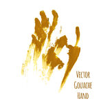 Vector yellow greased hand imprint Royalty Free Stock Image