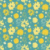 Vector yellow hand painted flowers seamless pattern on blue turquoise background royalty free illustration