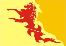 Vector yellow-orange background with a red horse Stock Image
