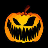 Vector Yellow Orange Festive Scary Halloween Pumpkin. With a Scary Jack Face on Black Background, Spooky Single Icon Royalty Free Stock Images
