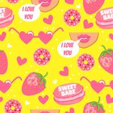 Vector yellow pattern with lips, hearts, sweet babe, strawberry and donuts. I love you. Fashion background with funny element Stock Photography