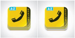 Vector yellow phone book icon royalty free illustration