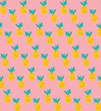 Vector yellow pineapples seamless pattern on pink background royalty free illustration