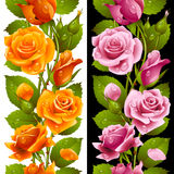 Vector yellow and pink rose vertical seamless patt