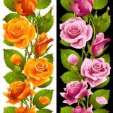 Vector yellow and pink rose vertical seamless patt