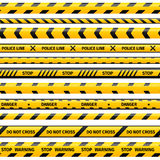 Vector yellow plastic caution tape or warning set Stock Photo