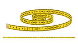 Vector yellow realistic measuring tape, strap for clothing isolated on white background. Design template in EPS10. Stock Photos