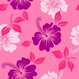 Vector pink tropical summer hawaiian seamless pattern with tropical hibiscus flowers. Vector yellow and red tropical summer hawaiian seamless pattern with Stock Photo