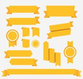 Vector Yellow retro ribbons set. Elements Royalty Free Stock Images